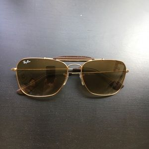 Ray Ban Gold Caravan w/ Leather Brow Bar RB3415Q